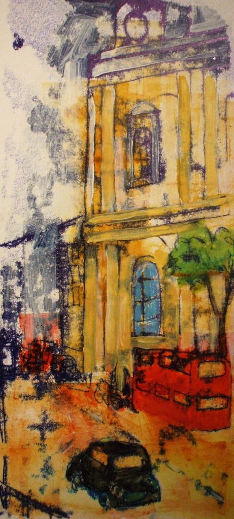 Taxi for St. Paul's | Monoprint | 390 x 267 | Original sold, available as a print