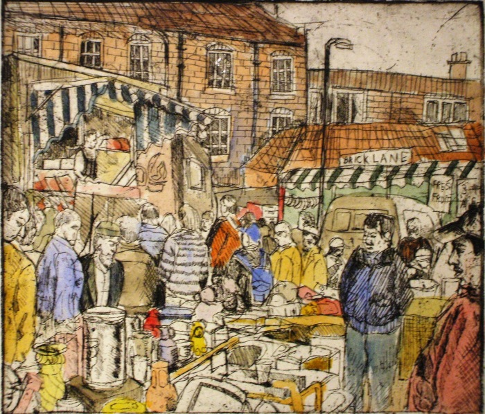 Brick Lane Market | Etching and Watercolour | 246 x 212mm | Original sold, available as a print