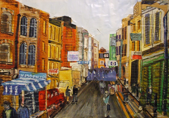 Brick Lane High Street | Mixed Media | 420 x 200m | Original sold, available as print