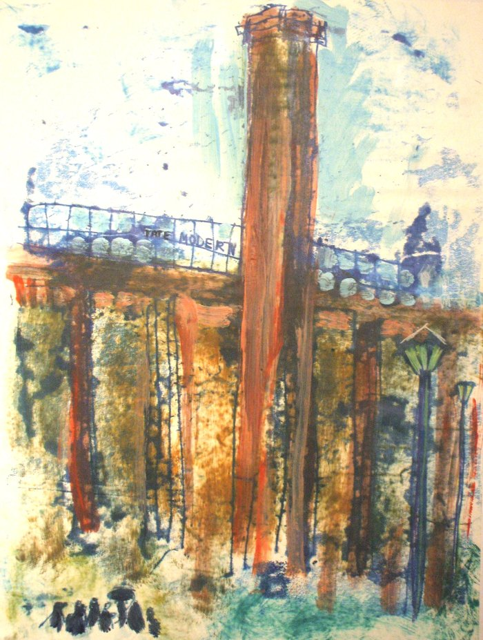 Tate Modern | Monoprint and Mixed Media | 390 x 458mm | Original sold, available as a print