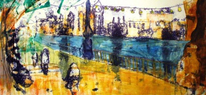 Steel Pan Player on the Southbank | Monoprint and Mixed Media | 500 x 233mm | £395