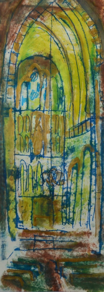 Southwark Cathedral | Monoprint and Mixed Media | 190 x 510mm | £395