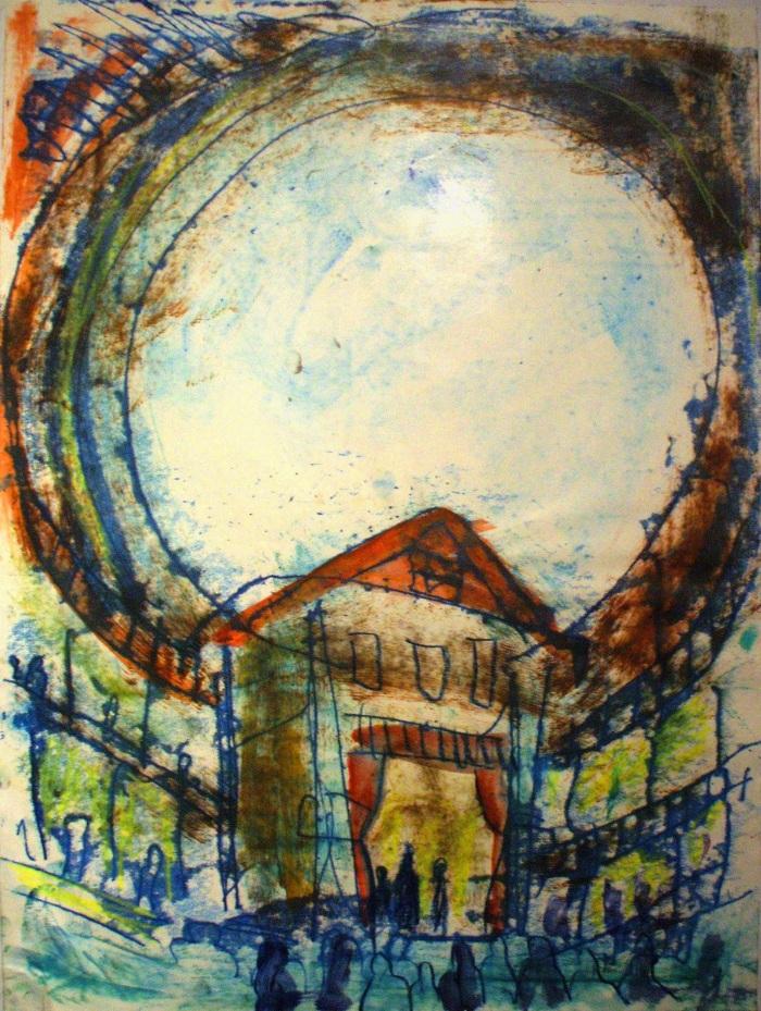 The Globe Theatre | Monoprint | 350 x 450mm | £425