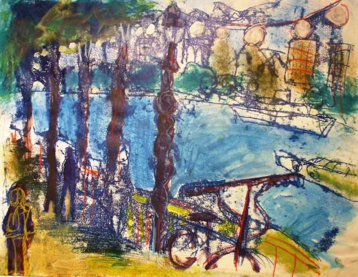 Cycling along the Southbank | Monoprint and Acrylic | 450 x 350mm | Original sold, available as a print