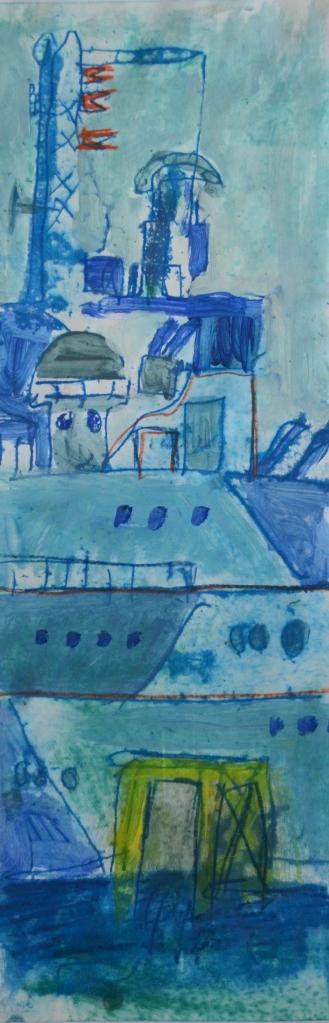 HMS Belfast | Monoprint and Mixed Media | 190 x 510mm | £395