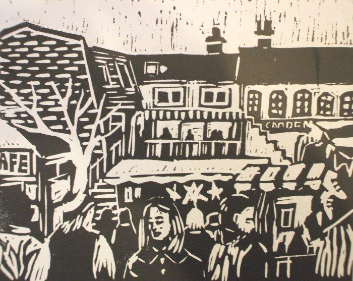Camden Market | Linoprint | 210 x 195mm | £250.00