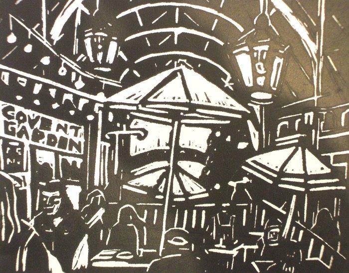 Covent Garden Market | Linoprint | 210 x 195mm | £250.00