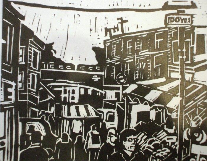 Portabello Market | Linoprint | 210 x 195mm | £250.00