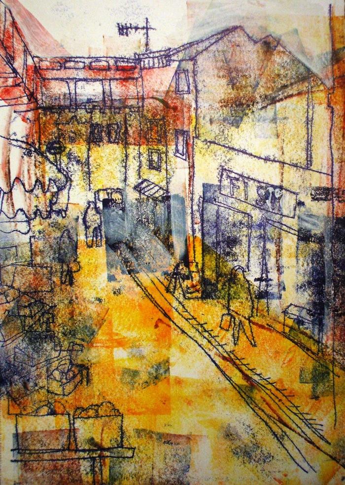 Portabello Market | Monoprint | 300 x 420mm | £395.00