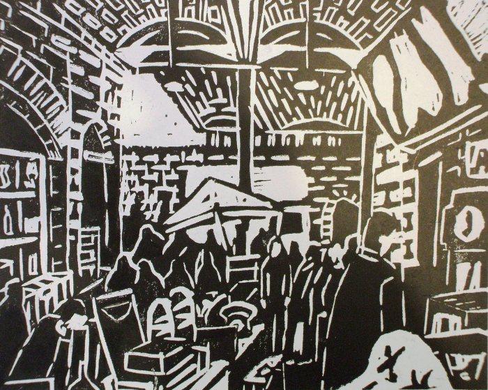 Brick Lane Antiques Market | Linoprint | 210 x 195mm | £250.00