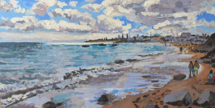 Silver Sliver over Luz Beach, Portugal | Acrylic | 520 x 270mm | Sold original, available as a print