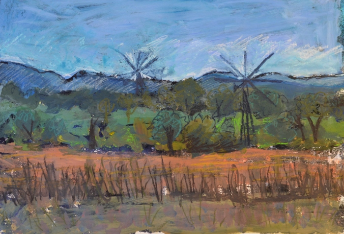 Crete Windmills   Monoprint   420 x 300mm   £395