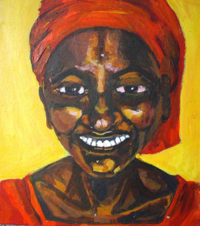 Gambian Smile   Acrylic   185 x 210mm   Sold original, available as a print