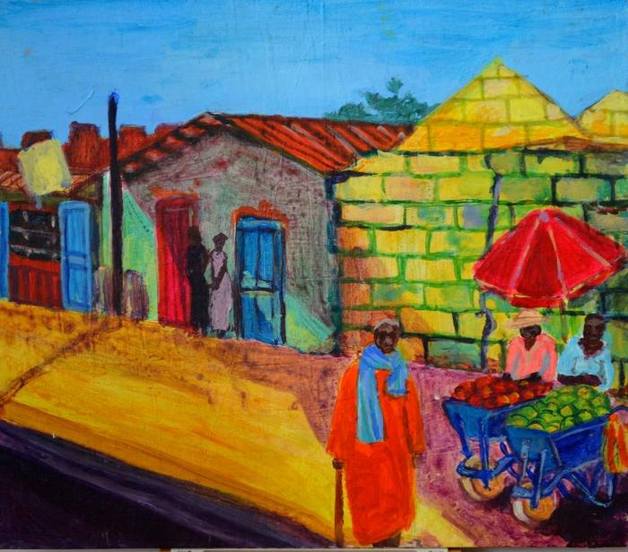 Gambian Back Street   Acrylic   300 x 225mm   £280