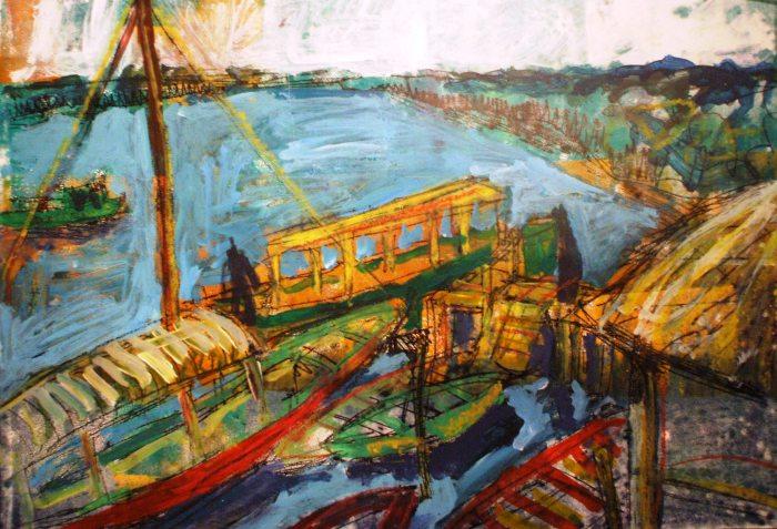 Boats at Lamin Lodge   Monoprint   595 x 410mm   £425