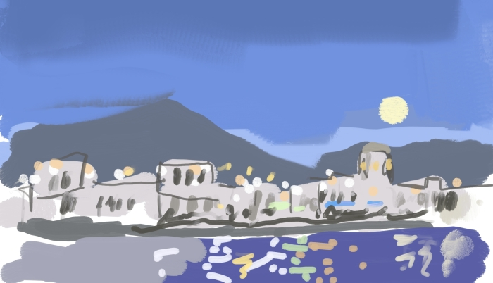 Big Moon at Playa Blanca, Lanzarote   Digital Art   297 x 210mm   £150