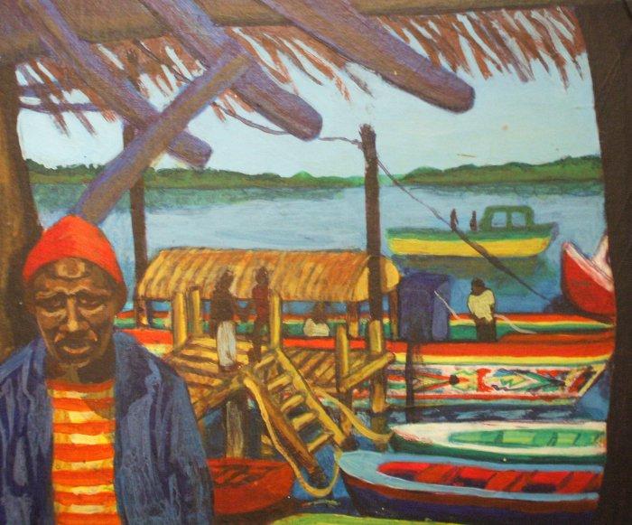 Boat Keeper at Lamin Lodge   Acrylic   297 x 252mm   Sold original, available as a print