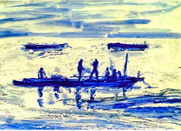 Gambian Fishermen   Watercolour and Wax Resist   297 x 210mm   Sold original, available as a print