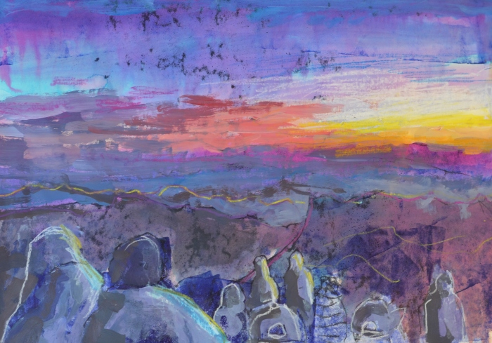The Sun Rising over Mount Sinai | Monoprint | 420 x 300mm | Sold original, available as a print