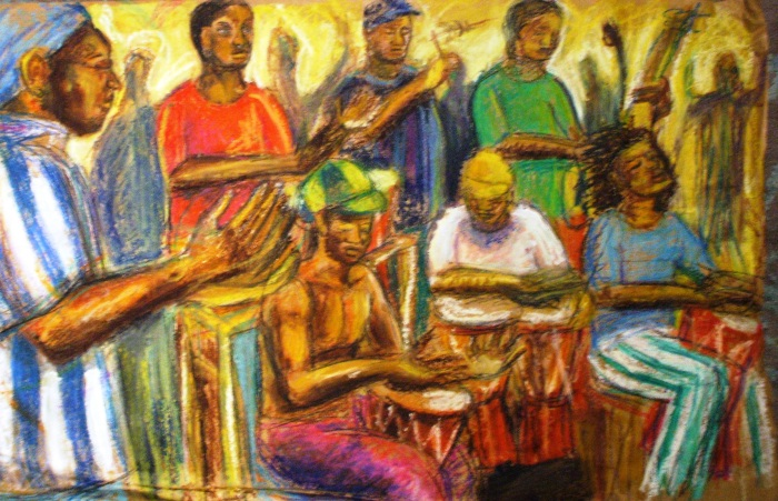 Gambian Drummers   Oil Pastel   745 x 500mm   £475