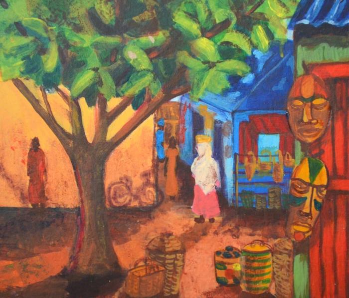 Baobab Tree in the Market   Acrylic   300 x225mm   £280