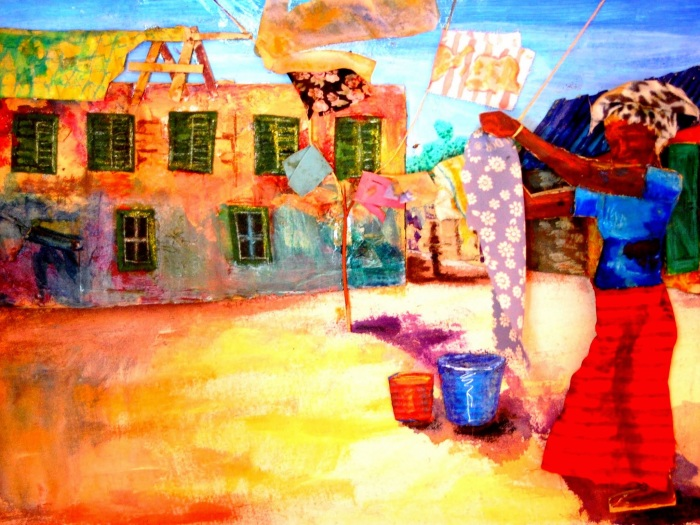 Hanging the Washing   Mixed Media   420 x 290mm   Original sold, available as a print