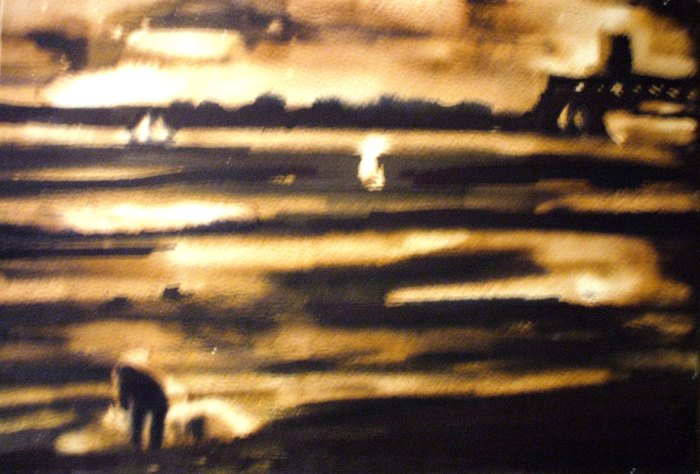 Fishing on the Solent | Bleach and Ink | 297 x 210mm | £280