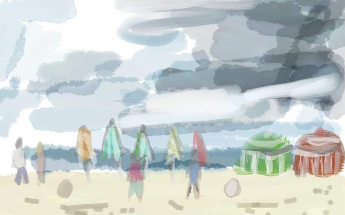 Rain coming in Trouville, Brittany | Digital Art | 297 x 210 | £150