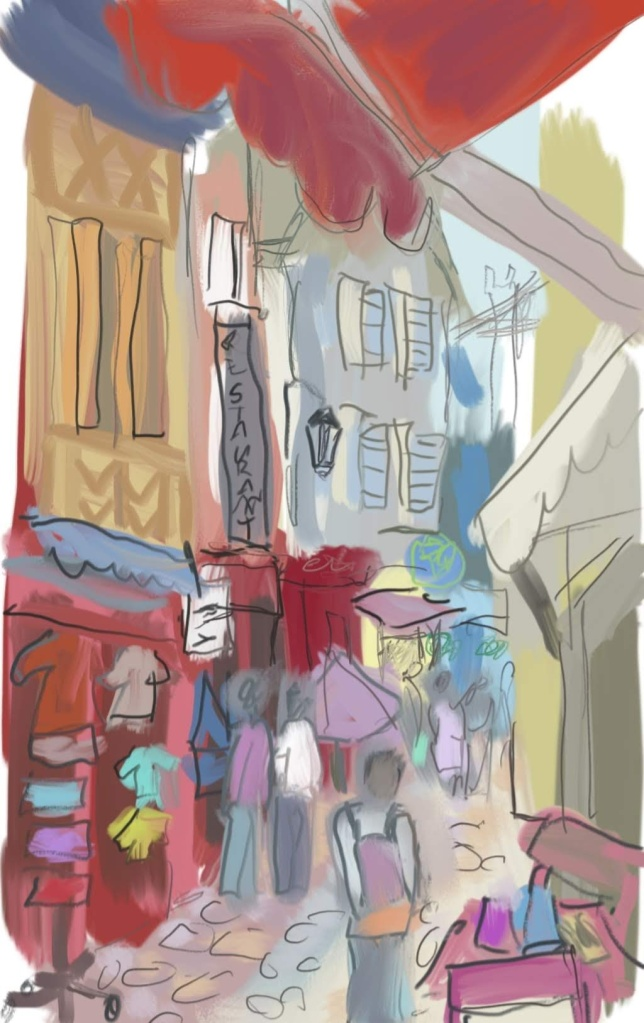 Windy Honfleur Street, Brittany | Digital Art | 210 x 297mm | £150