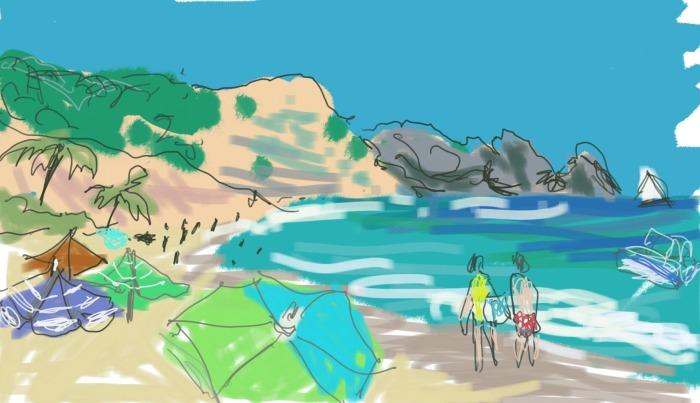 Sun-Soaked Luz Beach | Digital Art | 210 x 297mm | £150