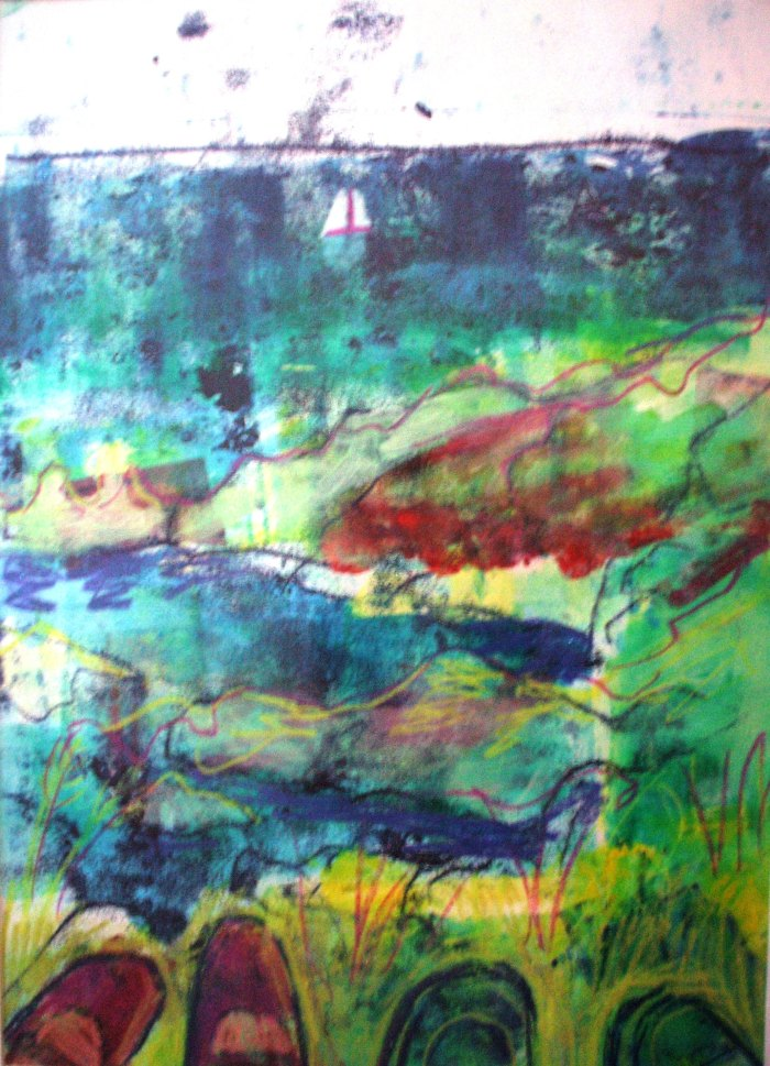 Sitting on Burgh Island | Monoprint | 350 x 450mm | Sold original, available as a print